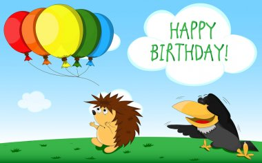 Birthday card with unusual raven and hedgehog