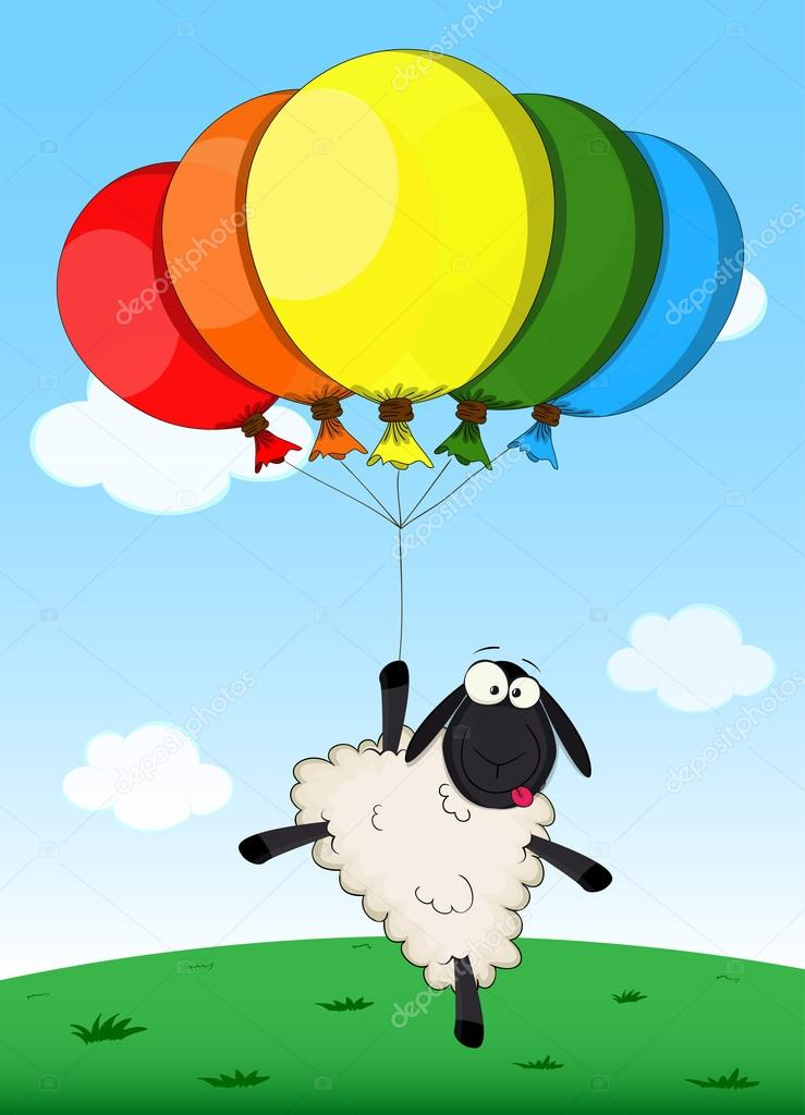 Birthday Card With Cartoon Sheep Stock Vector Aliakseiz 63909993