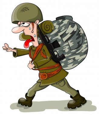 Tired soldier in helmet with big bag