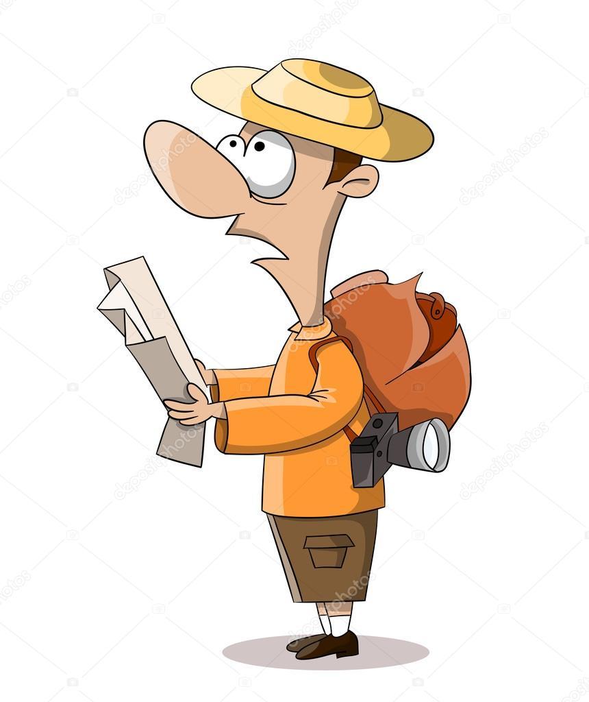 Cartoon tourist with map