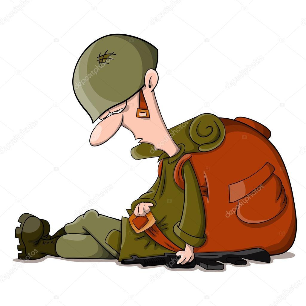 soldado cansado dos desenhos animados vetores de stock