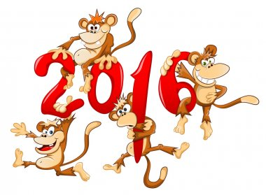 new year sign with few monkeys