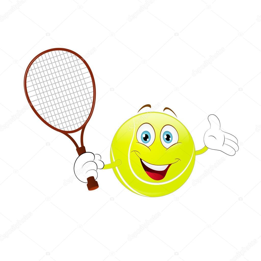 Tenis pelota stock de ilustracion ilustracion libre de stock de - Cartoon Tennis Ball Holding His Racket On A White Background Vector De Jonatan08