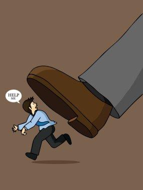 Businessman runs from boss's big foot