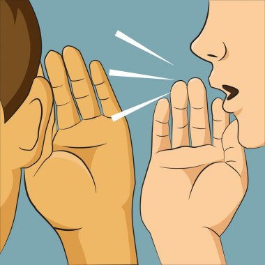 Woman whispering into someone ear telling her something secret,