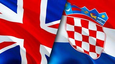 United Kingdom and Croatia flags. 3D Waving flag design. United Kingdom Croatia flag, picture, wallpaper. United Kingdom vs Croatia image,3D rendering. United Kingdom Croatia relations alliance an