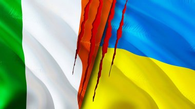 Ireland and Ukraine flags with scar concept. Waving flag 3D rendering. Ireland and Ukraine conflict concept. Ireland Ukraine relations concept. flag of Ireland and Ukraine crisis,war, attack concep