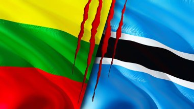 Lithuania and Botswana flags with scar concept. Waving flag,3D rendering. Lithuania and Botswana conflict concept. Lithuania Botswana relations concept. flag of Lithuania and Botswana crisis,war