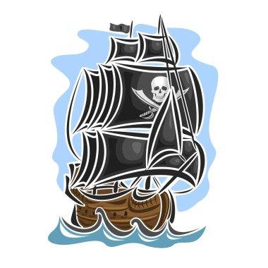 Vector logo pirate sailing ship