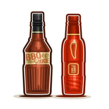 Vector logo BBQ and Chilli Sauce Bottles