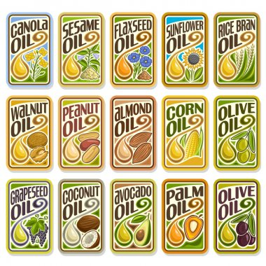 Vector collection labels Cooking and Frying Oil