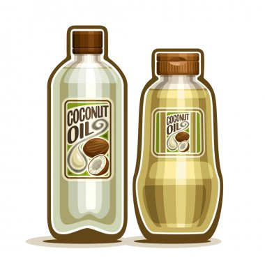 Vector logo 2 yellow plastic and glass Bottle with pure Coconut Oil