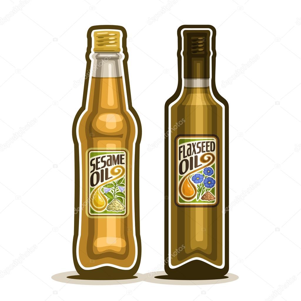 Logo vettoriale 2 marrone bottiglia di vetro con puro olio di semi ...