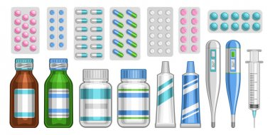 Vector Medical Set, lot collection of cut out illustrations of blue and pink pills in variety package, group of brown and green glass and plastic pill bottles, medical electronic thermometers on white icon