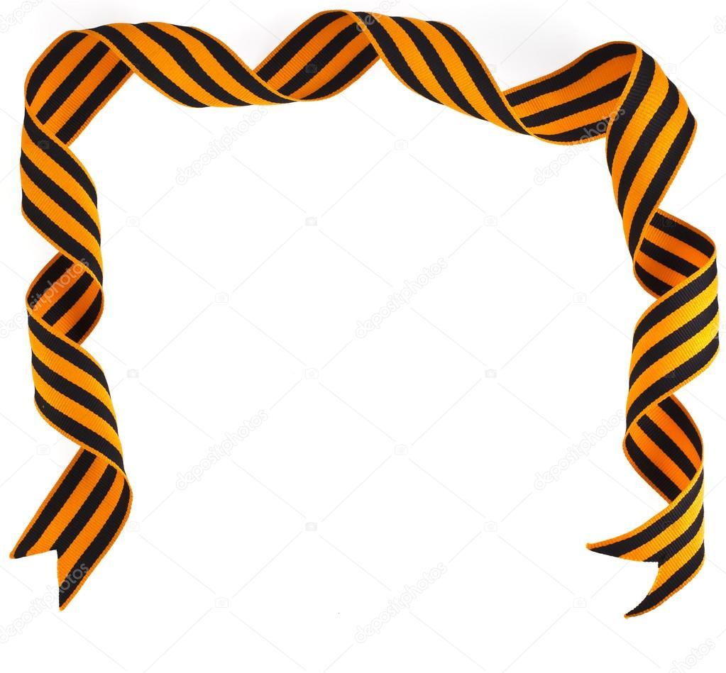 Border frame with black and yellow stripe on white background - Border Frame Of Black Orange Strip Bow Surface With Copy Space Close Up Isolated On White Background Photo By Madllen