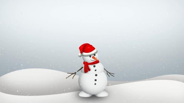 Hóember és hófehér hurok animációs háttér.
