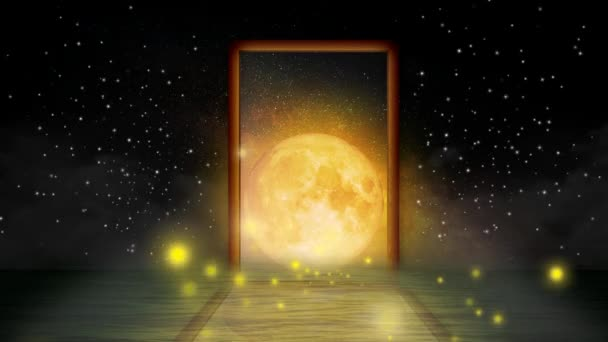 fantasy scenery of the moon in the wood frame, digital art style, loop animation background.
