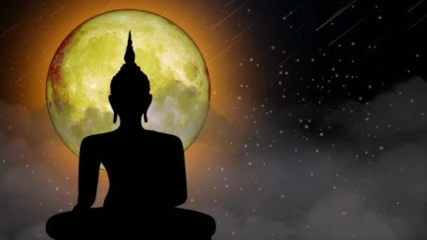 Buddha szobrok a holdfényben, Gyönyörű éjszakai ég, Éjszakai fantázia, Loop animációs háttér.