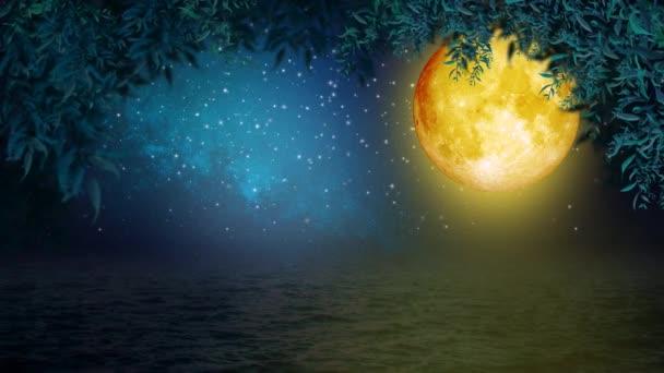 krásný žlutý měsíc na pohled, noční obloha, noční fantazie, smyčka animace pozadí.