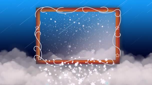 wood frame on clouds, falling stars in wood frame, night stars, fantasy, loop animation background.