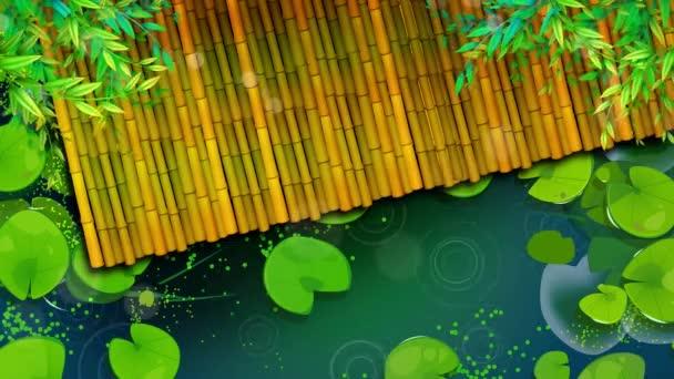 Felülnézet egy bambusz a vízen, animációs hurok háttér.