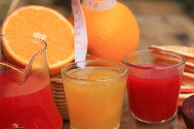 fresh orange with beetroot juices