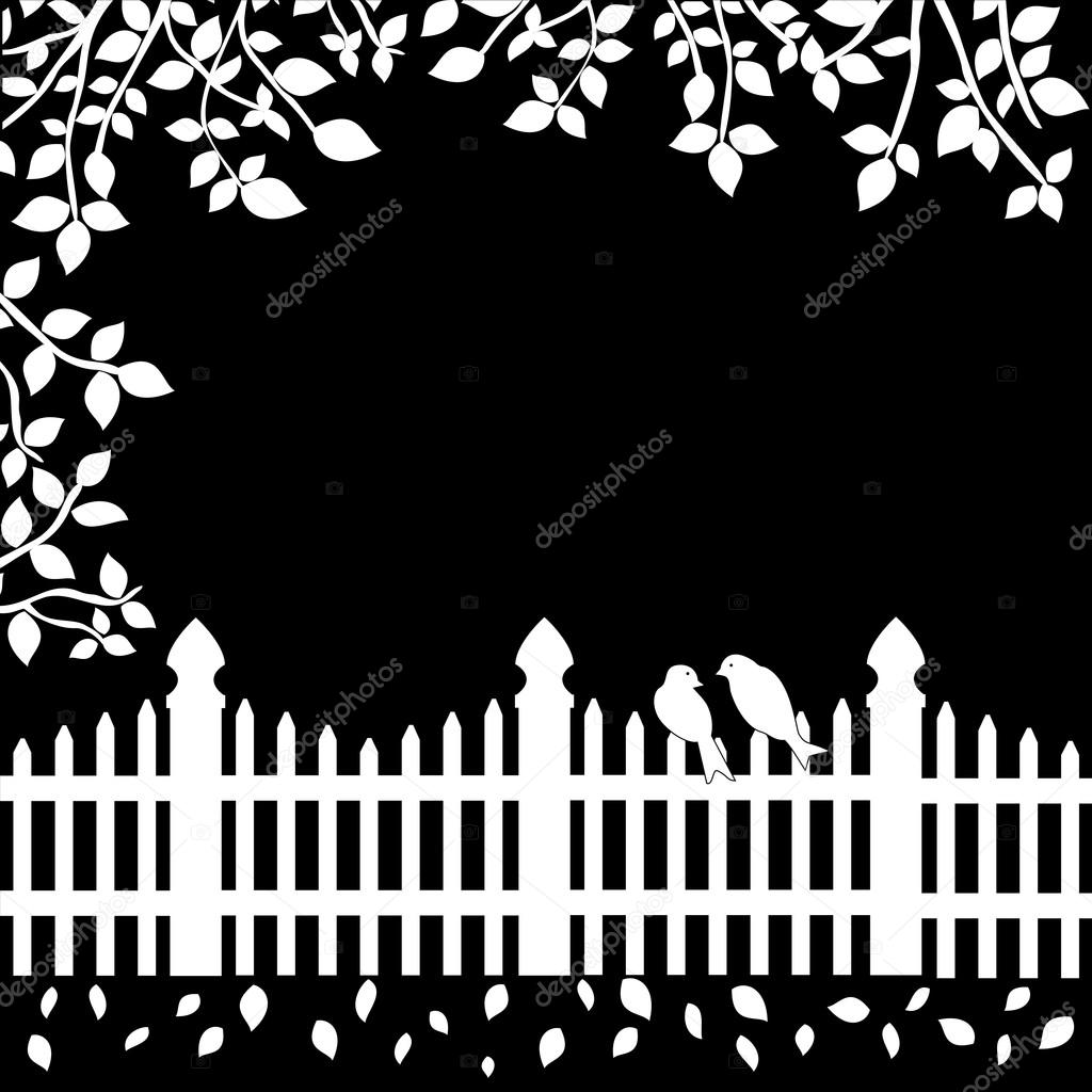 White fence with birds