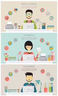 Set of freelance job banners