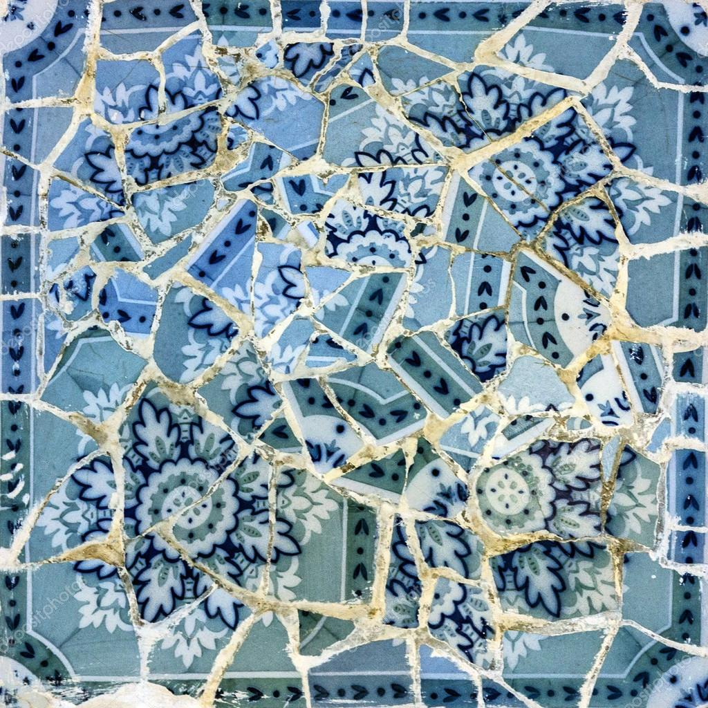 Broken Glass Mosaic Tile Decoration In Park Guell Barcelona Stock Photo