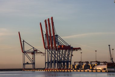Loading cranes. Malaga sea port, Spain.