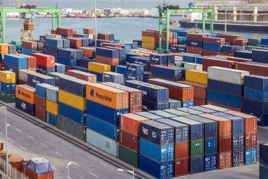 CASABLANCA, MOROCCO - JULY 8, 2016: Container terminal in Casablanca sea port, Morocco