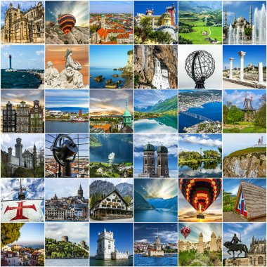 Travel collage. European landmarks. Norway, Portugal, Madeira