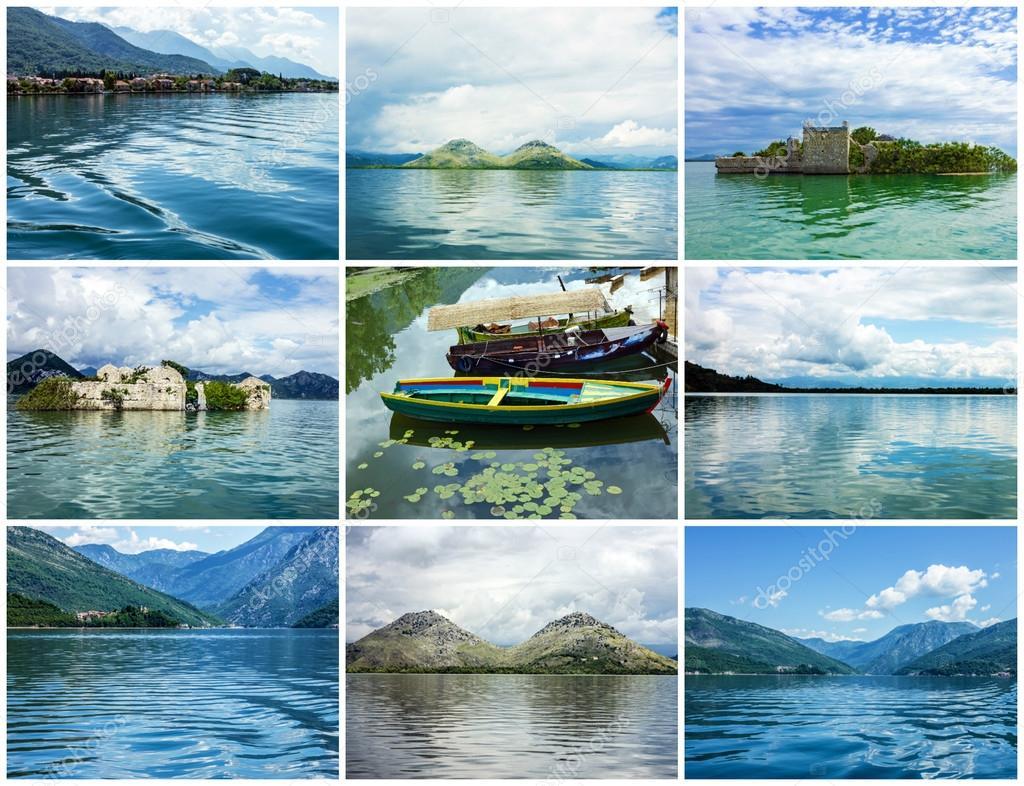 Collage Di Paesaggi Estivi Natura Di Montenegro Foto Stock Vlada