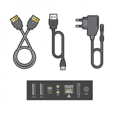 Detailed illustration of the connection ports and plugs.