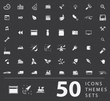 A large set of unique icons for design and modern technology of various themes: gestures, people, transport, hobby, equipment, computer, tool, media