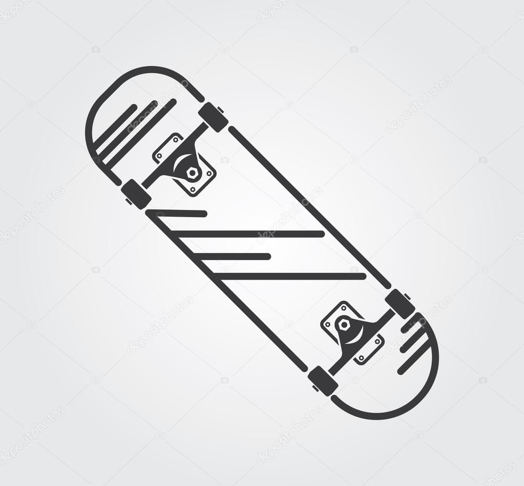 4a3630f41ae28 Simple web icons  Skateboard — Stock Vector © rlmf.net  79022862