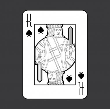 Single playing cards vector: Spades King