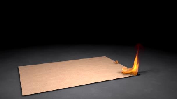 hořící papír na dřevěnou podlahu
