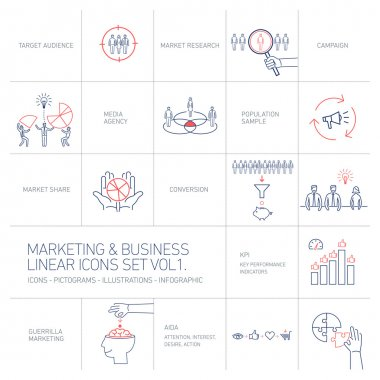 vector marketing and business icons set