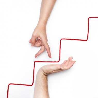 Hand step up on stairs