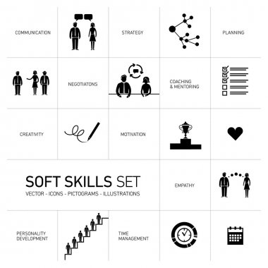 Soft skills icons set
