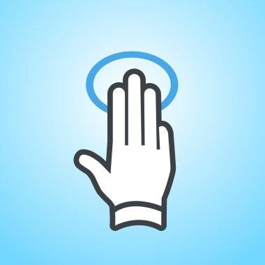 hand gesture icon tap wiht three fingers