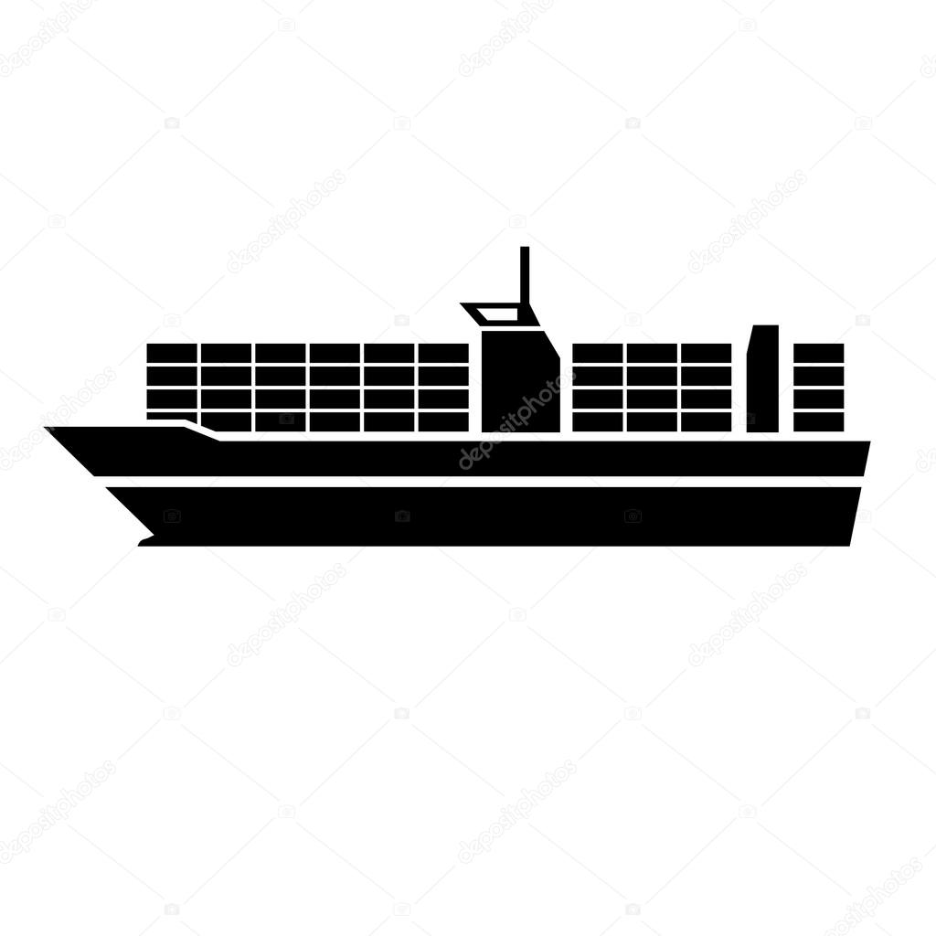 container ship transportation icon