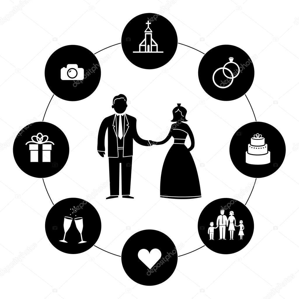 Hochzeit Symbole Und Piktogramme Stockvektor C Honzahruby 68579275