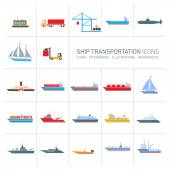 Photo ship transportation icons set