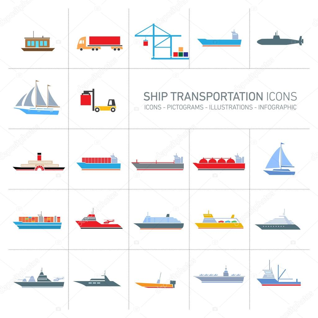 ship transportation icons set