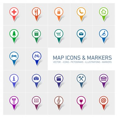 Icons markers set