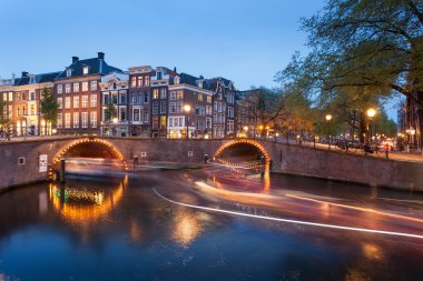 Amsterdam canals with bridge