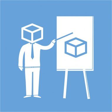 businessman thinking in the box presenting on the board