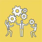 Fotografia Vector teamwork skills icon of businessmans